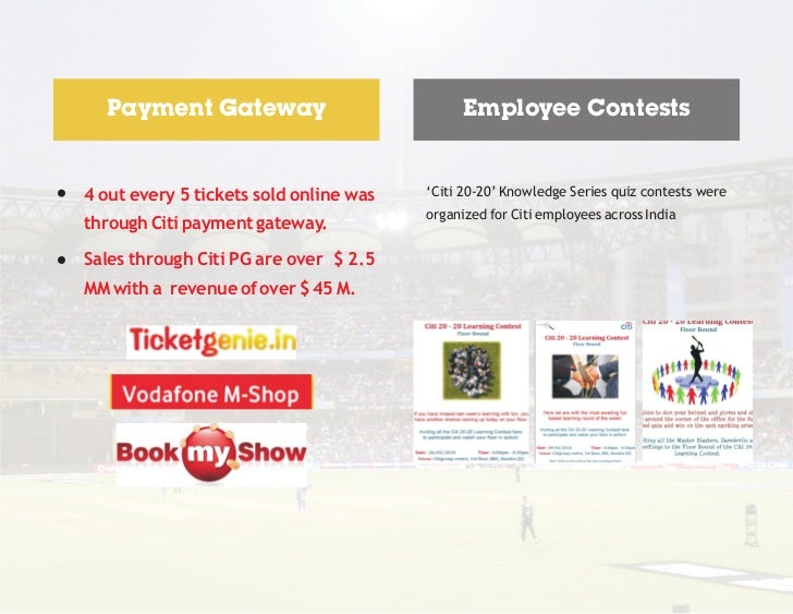 Payment Gateway                             Employee Contests4 out every 5 tickets sold online was   'Citi 20-20' Knowledg...