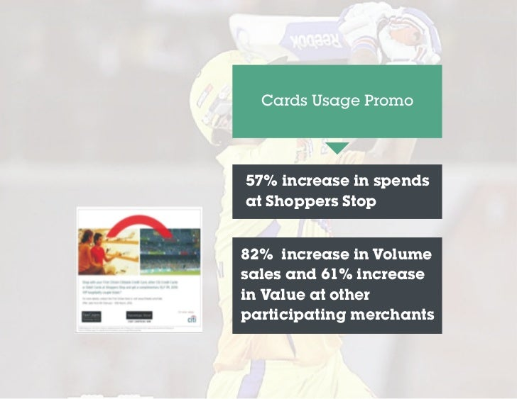 Cards Usage Promo57% increase in spendsat Shoppers Stop82% increase in Volumesales and 61% increasein Value at otherpartic...