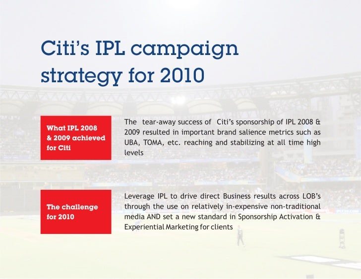 Citi's IPL campaignstrategy for 2010