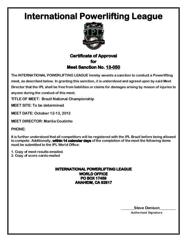 IPL sanction certificate for the Brazilian National Championship