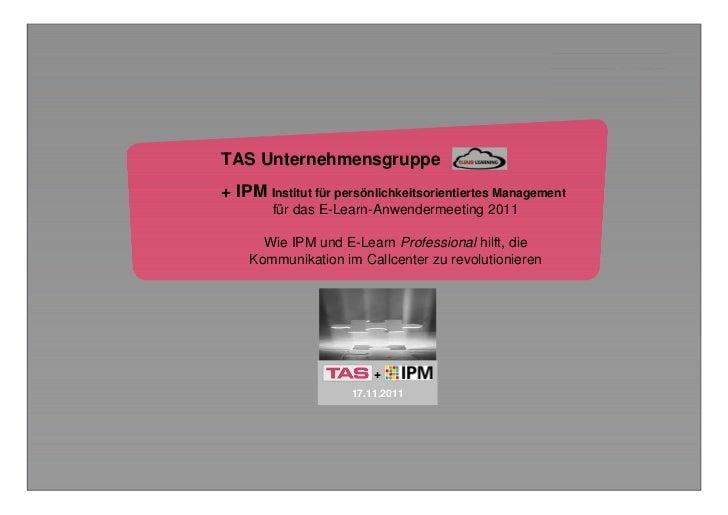 E-Learn + IPMTAS Unternehmensgruppe+ IPM Institut für persönlichkeitsorientiertes Management        für das E-Learn-Anwend...