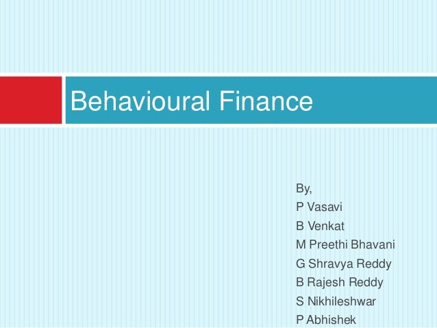 behavioral finance thesis I'm actively looking for a research topic for phd related to behavioral finance i'm actively looking for a topic for my master's thesis.