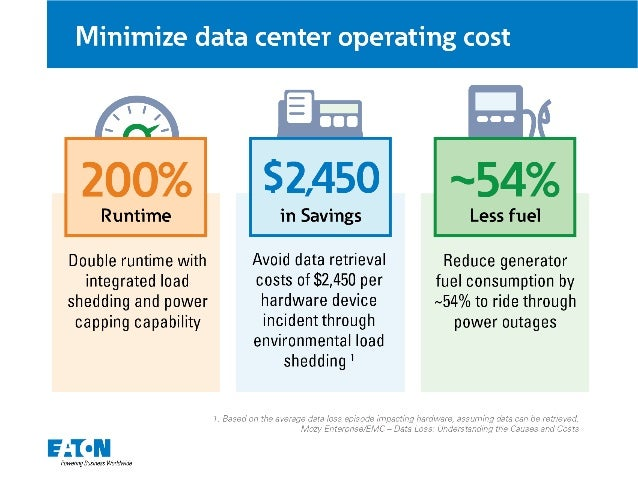 Minimize data center operating cost  $2,450 ~54%     in Savings Less fuel Double runtime with Avoid data retrieval Reduce ...