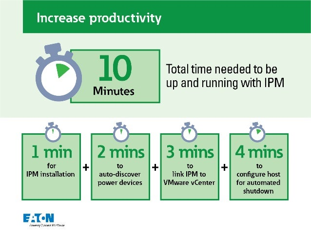 Increase productivity     0  Total time needed to be  Minutes up and running with IPM  1 min  for  auto-discover power dev...