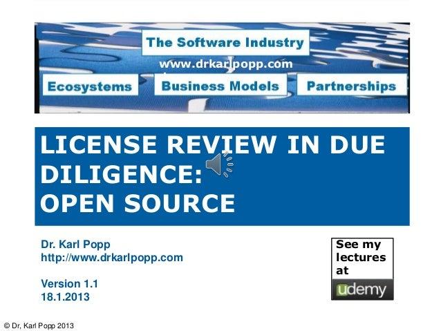 www.drkarlpopp.com                              de          LICENSE REVIEW IN DUE          DILIGENCE:          OPEN SOURCE...