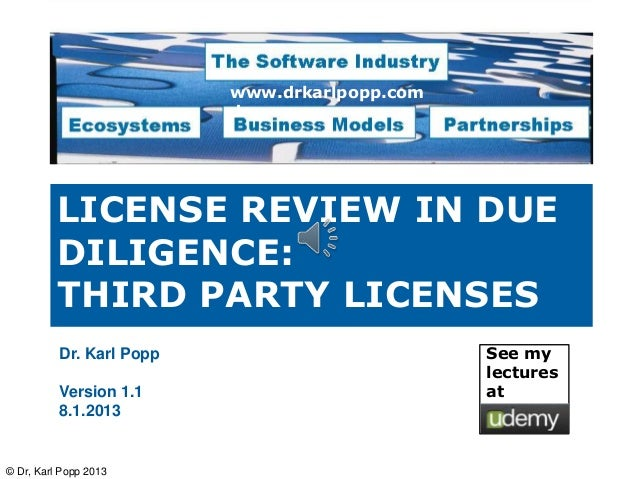 www.drkarlpopp.com                          de          LICENSE REVIEW IN DUE          DILIGENCE:          THIRD PARTY LIC...