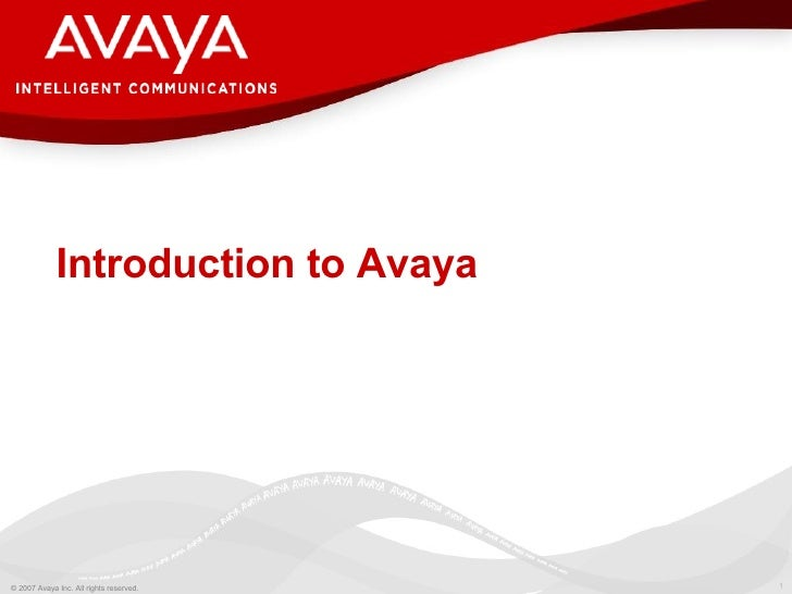 Introduction to Avaya