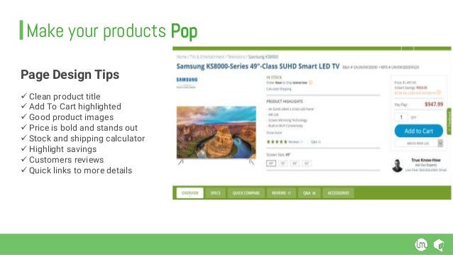 Page Design Tips  Clean product title  Add To Cart highlighted  Good product images  Price is bold and stands out  St...