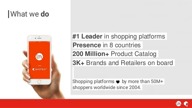 #1 Leader in shopping platforms Presence in 8 countries 200 Million+ Product Catalog 3K+ Brands and Retailers on board Sho...