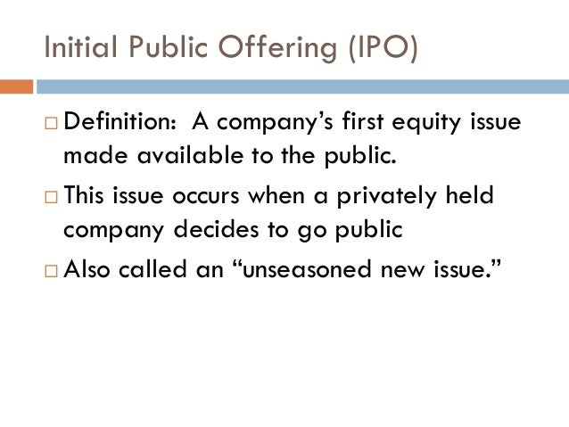 Post ipo equity definition