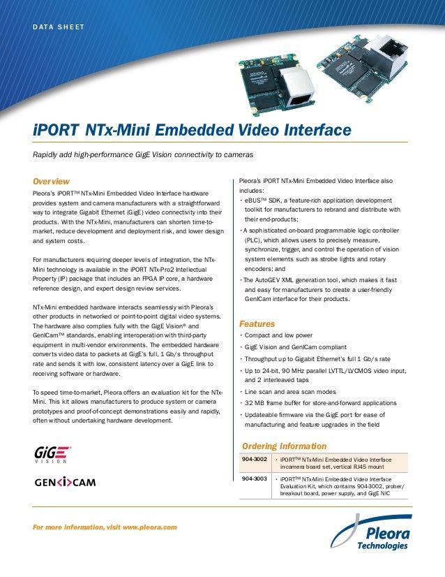 Iport ntx mini-embedded_video_interface_data_sheet