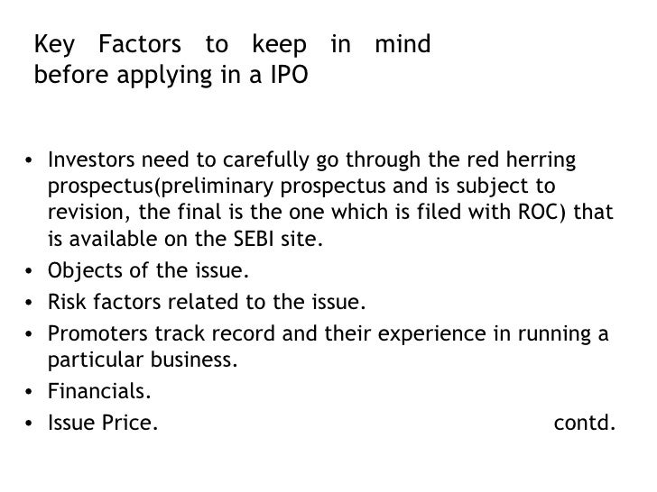 Factors of an IPO Price