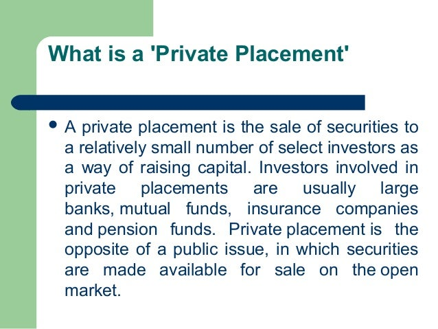Examples of private placement ipo