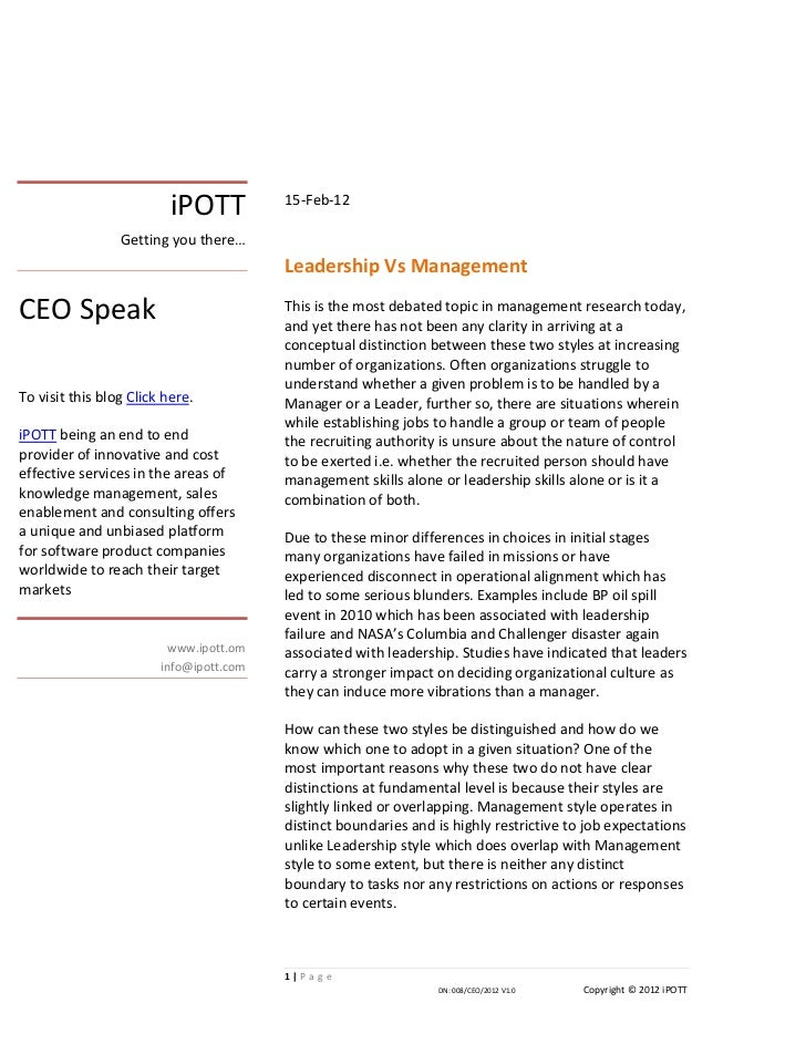 iPOTT          15-Feb-12                 Getting you there…                                         Leadership Vs Manageme...