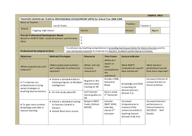 SAMPLE ONLYTEACHERS INDIVIDUAL PLAN For PROFESSIONAL