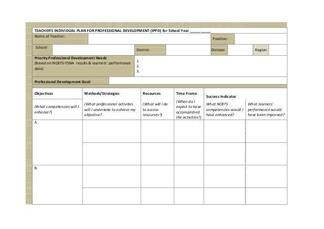 Professional Development Plan Example