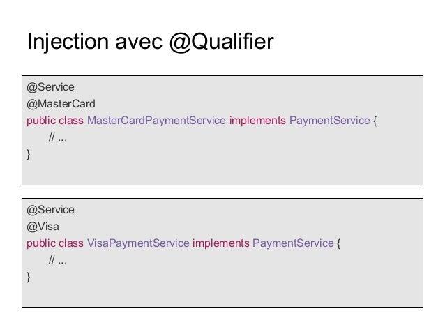 Injection avec @Qualifier @Service @MasterCard public class MasterCardPaymentService implements PaymentService { // ... } ...