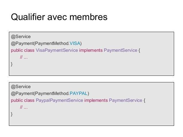 Qualifier avec membres @Service @Payment(PaymentMethod.VISA) public class VisaPaymentService implements PaymentService { /...