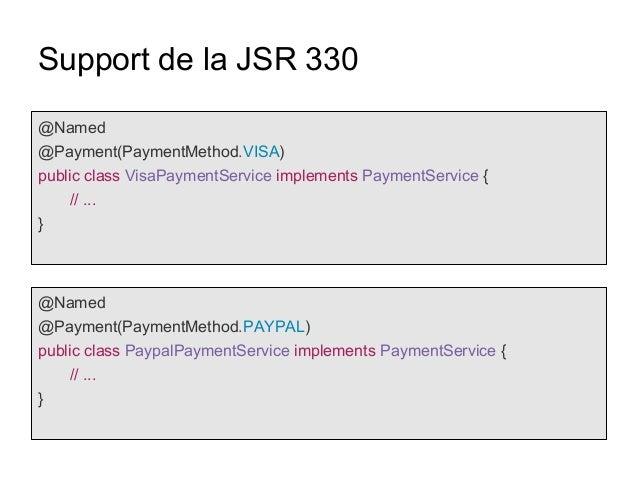 Support de la JSR 330 @Named @Payment(PaymentMethod.VISA) public class VisaPaymentService implements PaymentService { // ....