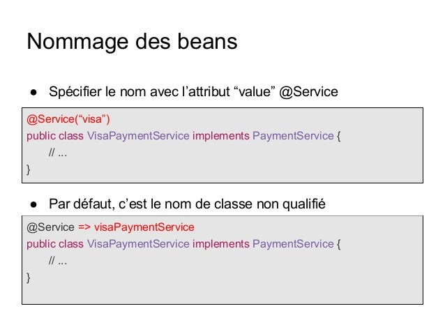 """Nommage des beans @Service(""""visa"""") public class VisaPaymentService implements PaymentService { // ... } @Service => visaPa..."""