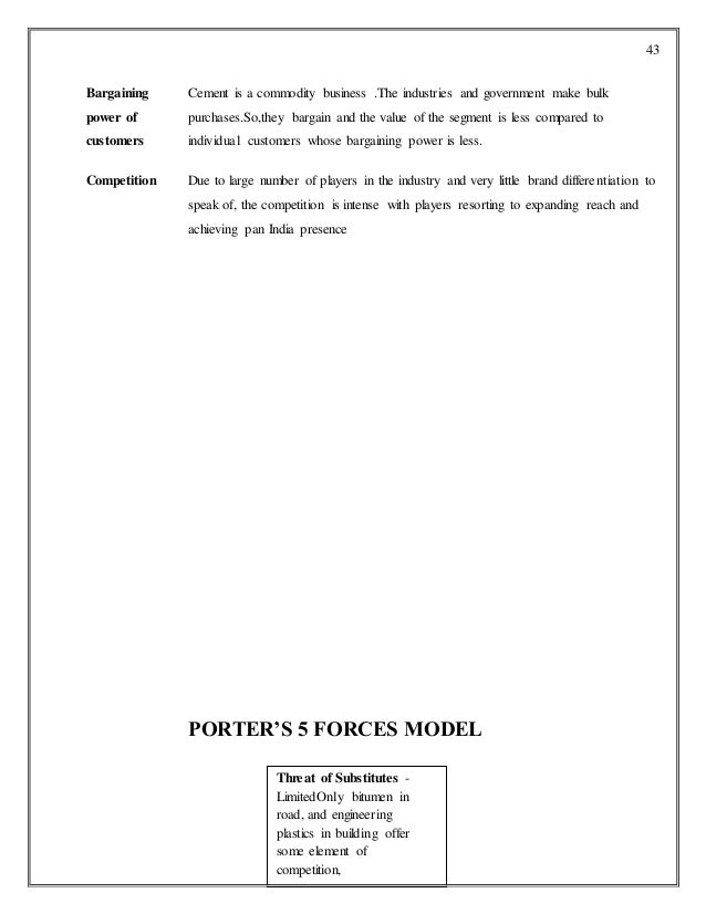 Cement Industry Five Forces Model : Ip project report