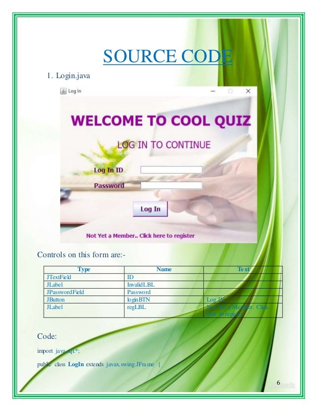 6 SOURCE CODE 1. Login.java Controls on this form are:- Type Name Text JTextField ID JLabel InvalidLBL JPasswordField Pass...