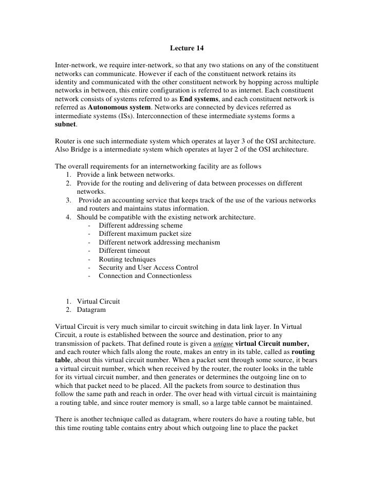 Lecture 14Inter-network, we require inter-network, so that any two stations on any of the constituentnetworks can communic...