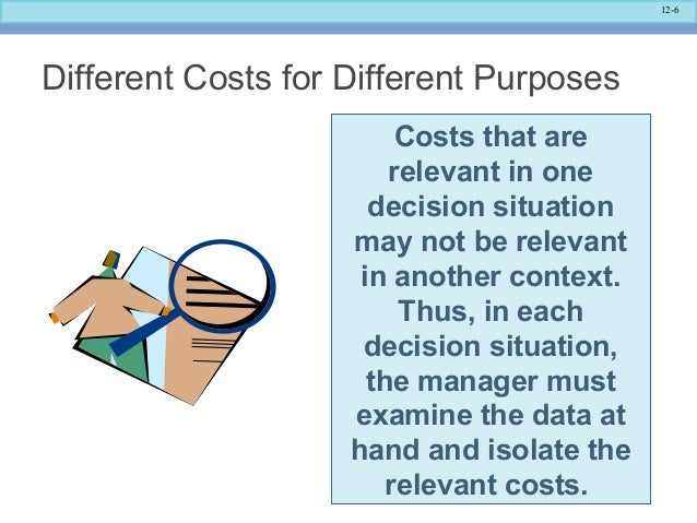 costs relevant differential avoidable Chapter 11 decision making and relevant information  a differential cost is the difference in total relevant cost between two alternatives  $200 per jar answer: d explanation: d) all avoidable costs are relevant for this decision diff: 2 objective: 5 aacsb: application of knowledge 8) the maximum price that genent'ʹs preserves should.