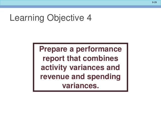 variance reporting interpreting variance report results and actual results of performance When deciding which variances to investigate, the following factors should be  considered  been unrecorded, scales have been misread or employees may  adjust their records to 'improve' their performance  actual results are likely to  deviate from this standard  interpret variances & possible causes.