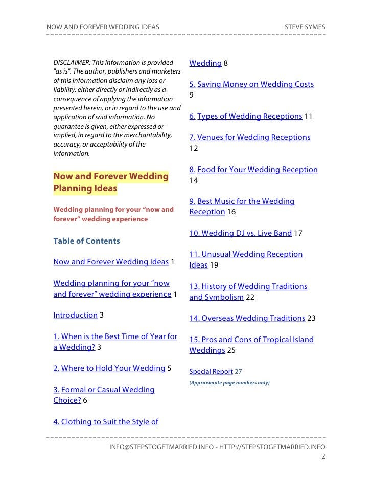 NOW AND FOREVER WEDDING IDEAS                                                      STEVE SYMES DISCLAIMER: This informatio...