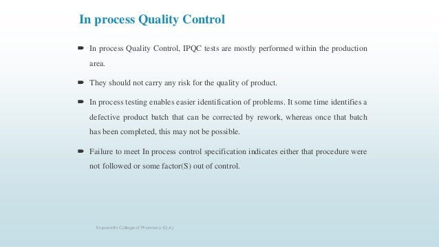 In Process Quality Control System Ipqc For Solid Dosages Form Tabl