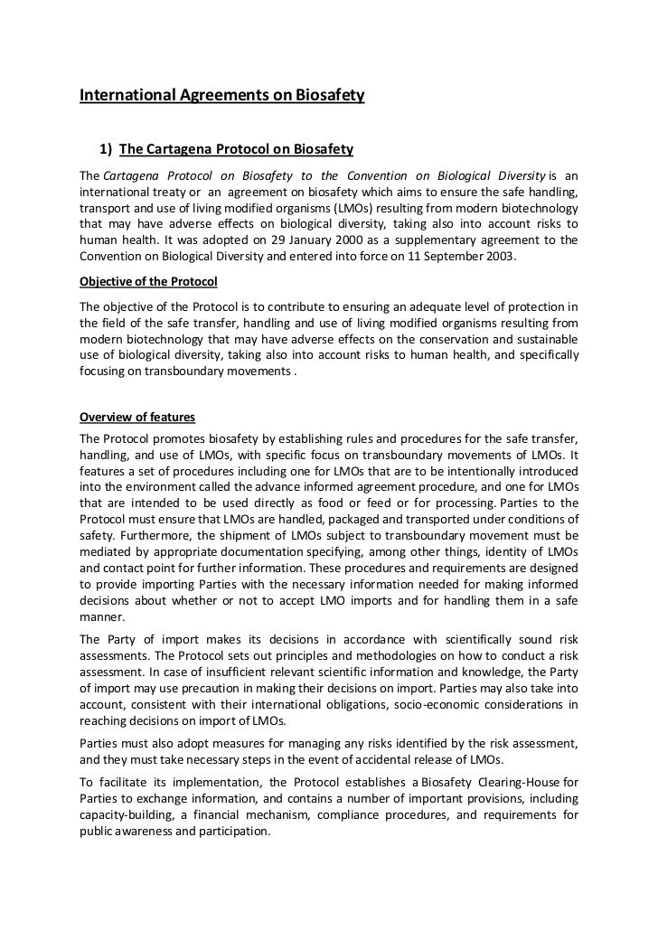 International Agreements on Biosafety   1) The Cartagena Protocol on BiosafetyThe Cartagena Protocol on Biosafety to the C...