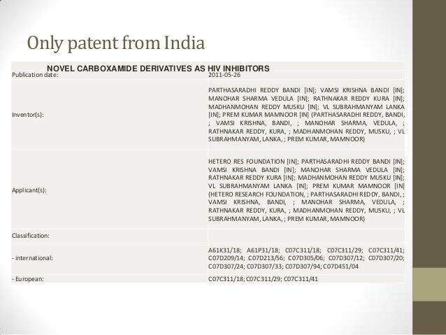 Only patent from India                NOVEL CARBOXAMIDE DERIVATIVES AS HIV INHIBITORSPublication date:                    ...