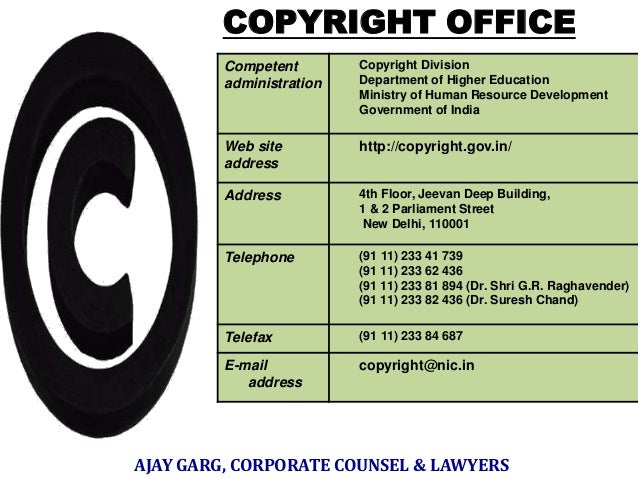 COPYRIGHT OFFICE Competent administration  Copyright Division Department of Higher Education Ministry of Human Resource De...