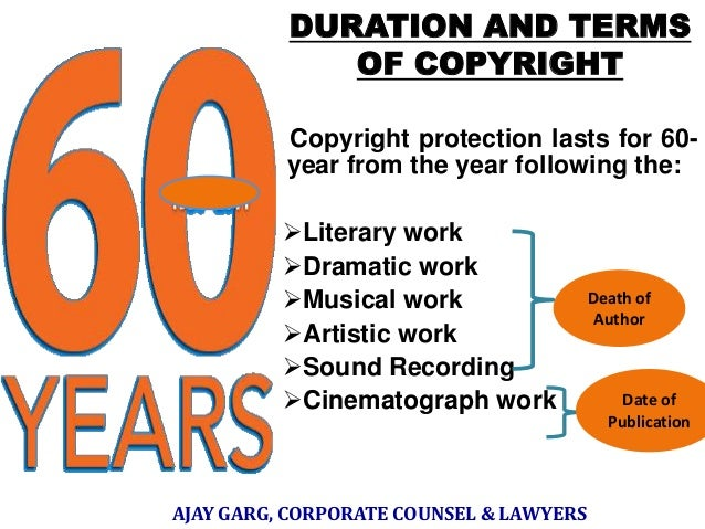 DURATION AND TERMS OF COPYRIGHT Copyright protection lasts for 60year from the year following the: Literary work Dramati...