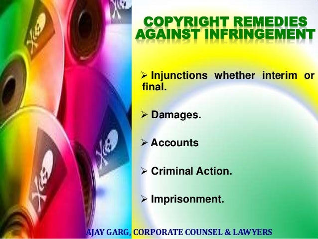 COPYRIGHT REMEDIES AGAINST INFRINGEMENT  Injunctions whether interim or final.  Damages.  Accounts   Criminal Action. ...