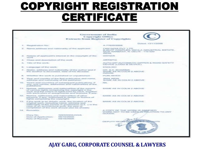 COPYRIGHT REGISTRATION CERTIFICATE  AJAY GARG, CORPORATE COUNSEL & LAWYERS