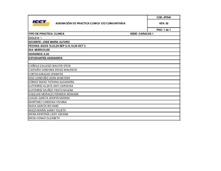 COD.:IPR44                   ASIGNACIÓN DE PRACTICA CLINICA Y/O COMUNITARIA                      VER. 02                  ...