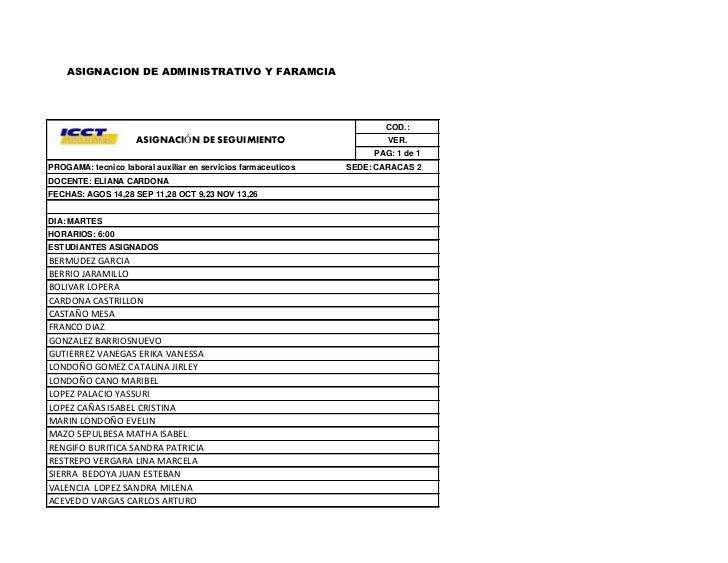 ASIGNACION DE ADMINISTRATIVO Y FARAMCIA                                                                      COD.:        ...