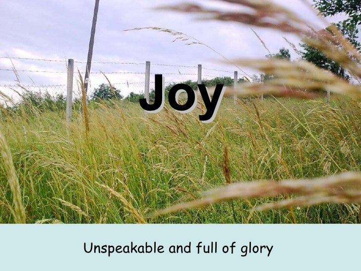Joy <ul><li>Unspeakable and full of glory   </li></ul>