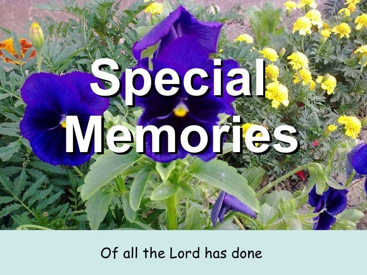 Special  Memories   <ul><li>Of all the Lord has done  </li></ul>