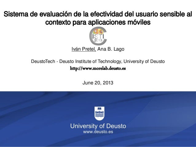 1/33DeustoTech - Deusto Institute of Technology, University of Deustohttp://www.morelab.deusto.esJune 20, 2013Sistema de e...