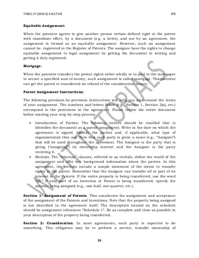 TYBSC IT SEM 6 IPRCL – Patent Assignment Form