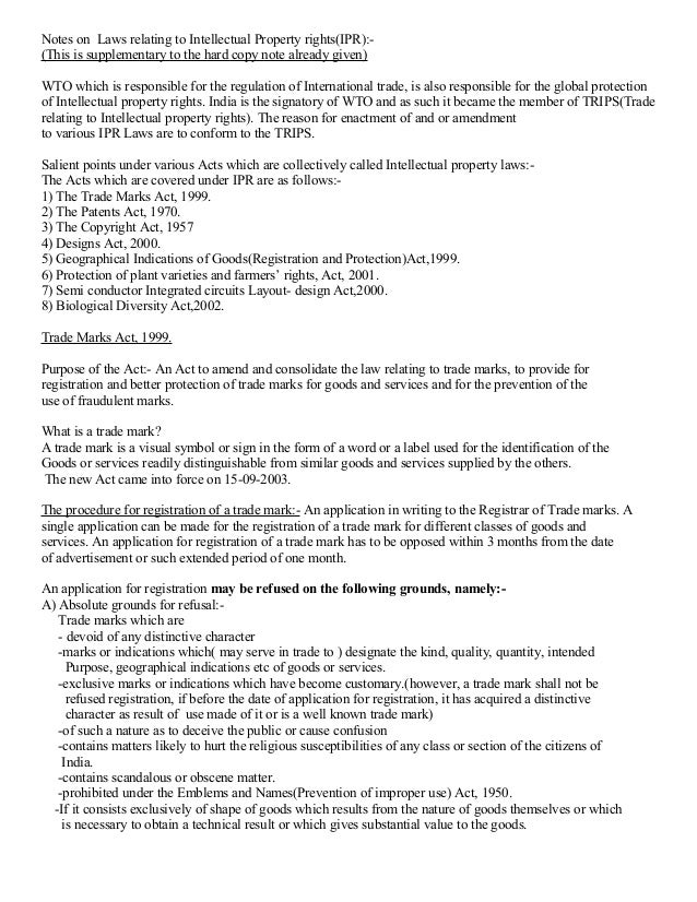 Notes on Laws relating to Intellectual Property rights(IPR):(This is supplementary to the hard copy note already given) WT...