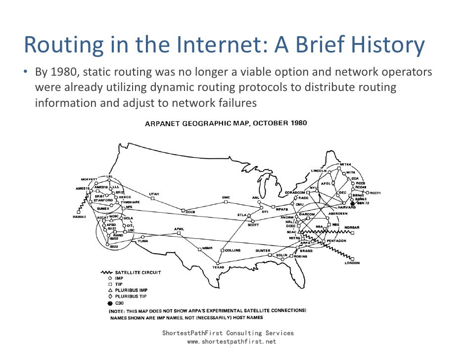 Routing in the Internet: A Brief History • By 1980, static routing was no longer a viable option and network operators   w...