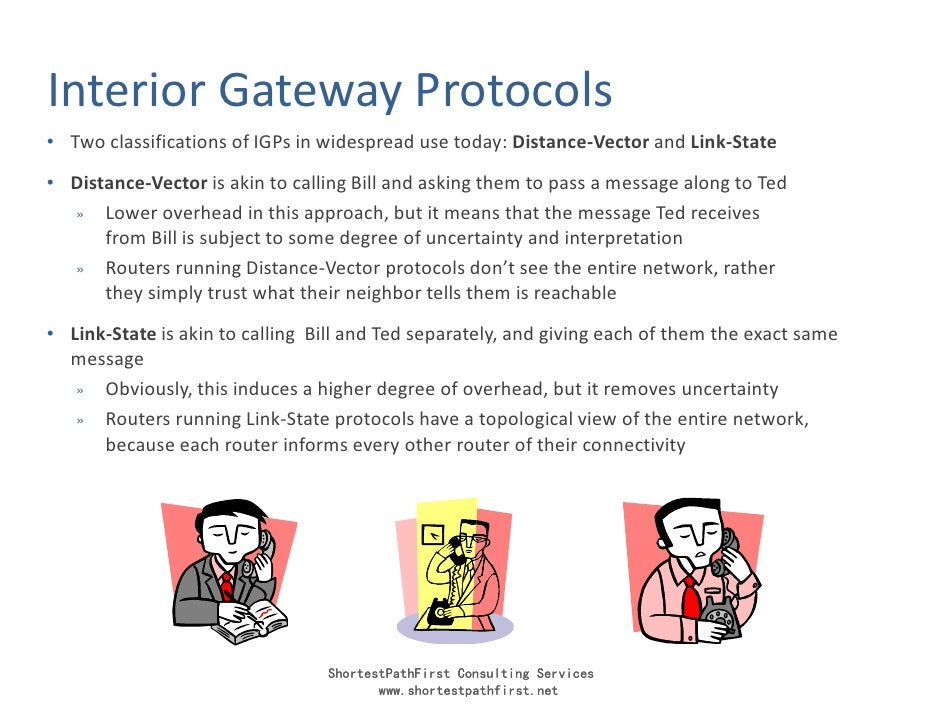 Interior Gateway Protocols • Two classifications of IGPs in widespread use today: Distance-Vector and Link-State • Distanc...