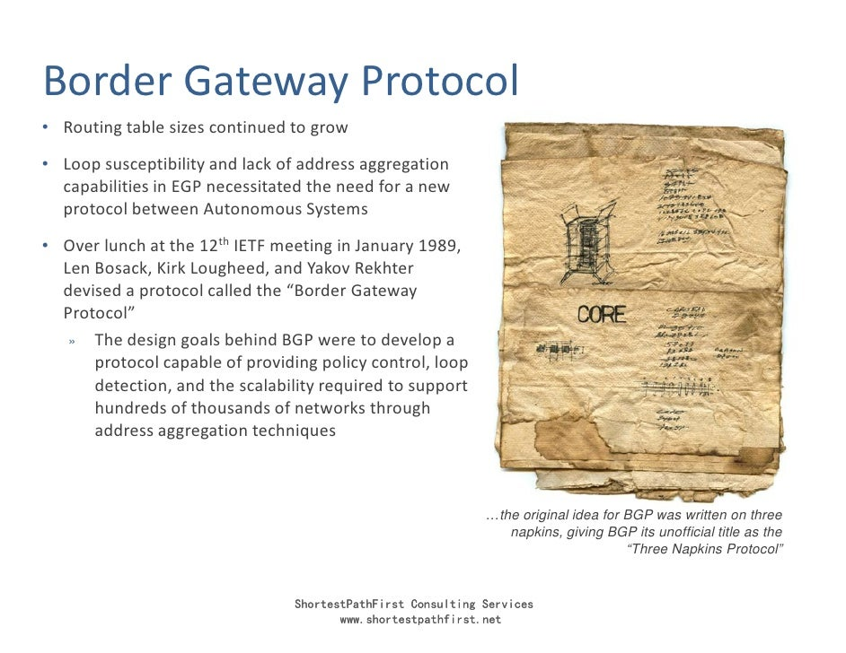Border Gateway Protocol • Routing table sizes continued to grow • Loop susceptibility and lack of address aggregation   ca...