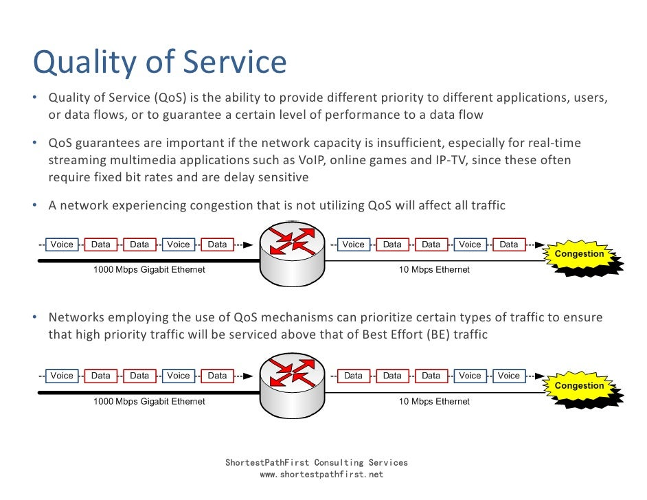 Quality of Service • Quality of Service (QoS) is the ability to provide different priority to different applications, user...