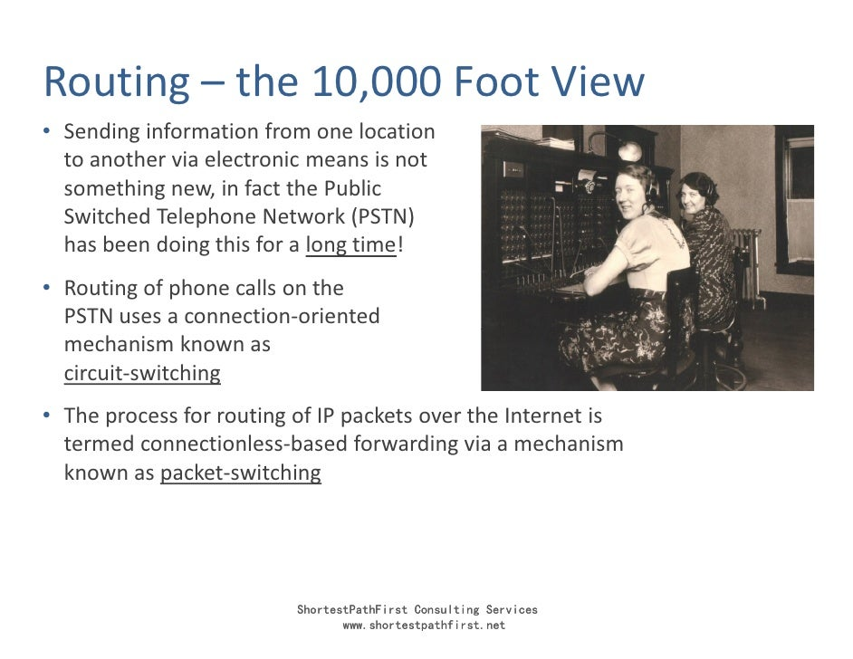 Routing – the 10,000 Foot View • Sending information from one location   to another via electronic means is not   somethin...