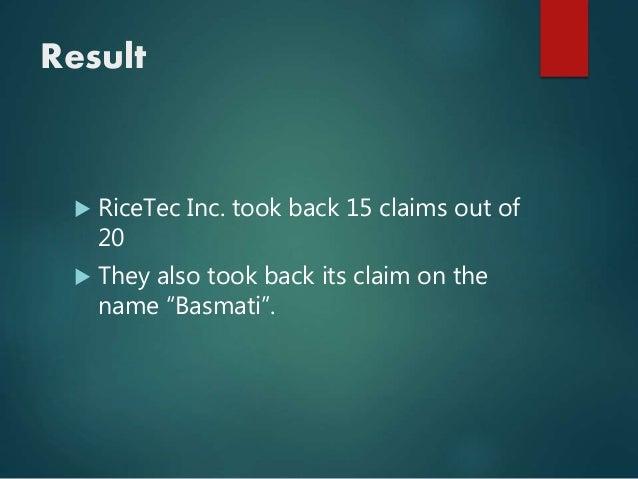 Basmati Rice Patent Battle - SlideShare